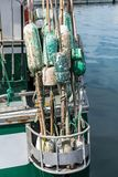 Floats for fishing net. Used floats for fishing net at the rear of the boat Stock Image