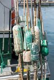 Floats for fishing net. Used floats for fishing net at the rear of the boat Royalty Free Stock Photo