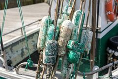 Floats for fishing net. Used floats for fishing net at the rear of the boat Stock Images
