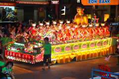 Floats with Lotus Deco at Wesak Procession 2011 Royalty Free Stock Photography