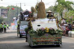 Floats parade. The parade floats in Karanganyar, Central Java, Indonesia stock photo