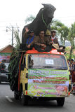 Floats parade. The parade floats in Karanganyar, Central Java, Indonesia stock images