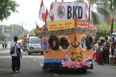 Floats parade. The parade floats in Karanganyar, Central Java, Indonesia royalty free stock images