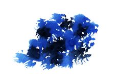 Floc expressif abstrait d'aquarelle bleue illustration stock