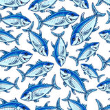 Flock of atlantic tuna fishes seamless pattern Royalty Free Stock Photography