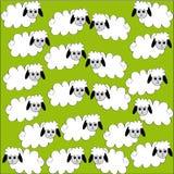 Flock av får på grön bakgrund Stock Illustrationer