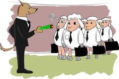 Flock av fårarbetaren royaltyfri illustrationer
