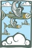 Flock av flygfisken vektor illustrationer