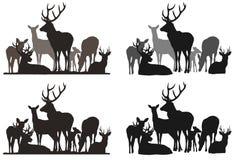 Flock av hjortar vektor illustrationer