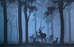 Flock av hjortar royaltyfri illustrationer