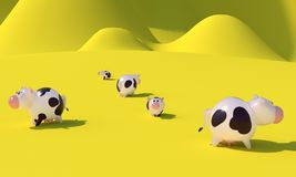 Flock av kor framförande 3d vektor illustrationer