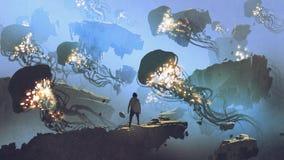 Flock av manet som flyger i himlen royaltyfri illustrationer