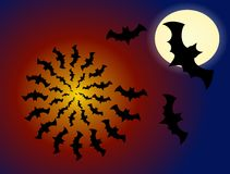 A flock of bats flying out of the abyss Royalty Free Stock Images