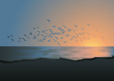 Flock of birds above the sea. Illustration,AI file included vector illustration