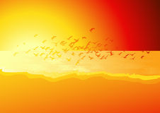 Flock of birds above the sea in sunset. Illustration, AI file included royalty free illustration