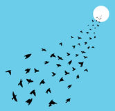 Flock of  birds flying, vector  Royalty Free Stock Images