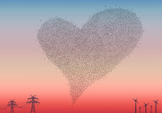 Flock of birds heart, vector Royalty Free Stock Photos