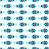 Flock of blue mosaic fish pattern seamless. A flock of blue fish mosaic seamless pattern. Natural vector background in ancient style Royalty Free Stock Image
