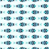 Flock of blue mosaic fish pattern seamless Royalty Free Stock Image