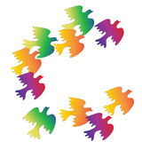 Flock of colorful birds on a white background royalty free illustration