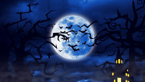 Flock of the creepy bats are flying with a full moon behind them. Stock Images