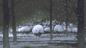 Flock of demon sheep in winter landscape stock illustration