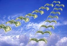 Flock of dollar fly away Stock Photos