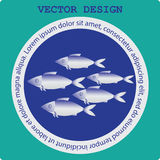 Flock of fish in a circle. Icon on blue background. Restaurant, seafood, fish market. Vector images. The concept of labels for sea. Food Stock Images
