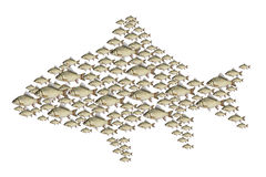 Flock of fish illustration Royalty Free Stock Images