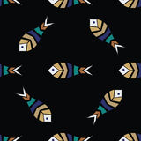 Flock of fish mosaic seamless pattern Royalty Free Stock Photography
