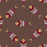 Flock of fish mosaic seamless pattern Royalty Free Stock Image