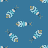 Flock of fish mosaic seamless pattern. Natural vector background Royalty Free Stock Photos
