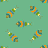 Flock of fish mosaic seamless pattern. Natural vector background Royalty Free Stock Image