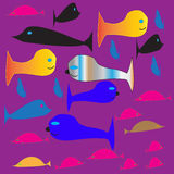 Flock, fish, water, color, abstraction, parody Stock Photos