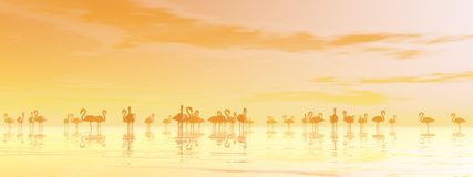 Flock of flamingos - 3D render Royalty Free Stock Image