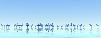 Flock of flamingos - 3D render Royalty Free Stock Photography