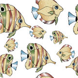 A flock of floating fish. Pattern hand draw shoal of fish Stock Image