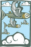 Flock of Flying Fish. Woodcut style image of a flock of fish with wings in the sky Stock Image
