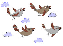 A flock of funny birds - sparrows flying in the clouds. Simple c Stock Photo