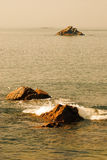 Flock of gulls. Three rocks in the sea with flock of gulls Royalty Free Stock Photography
