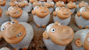 Flock of happy smiling sheep Royalty Free Stock Photography