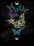 Flock of pastel butterflies Stock Photo