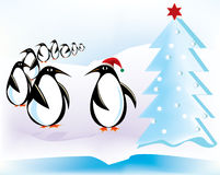 Flock of Penguins at Christmas Stock Photos