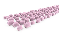 Flock of piggy banks running Stock Photo