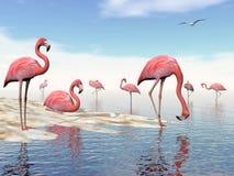 Flock of pink flamingos - 3D render Stock Image