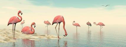 Flock of pink flamingos - 3D render Stock Photography