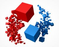 Flock of red and blue cubes, rotating around each other. 3d style vector illustration. Suitable for any banner, ad, technology and abstract themes Stock Images