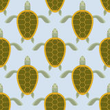 Flock of sea turtles. Water turtle seamless pattern. Vector back Stock Images