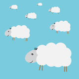 Flock of sheep. And blue background Royalty Free Stock Images