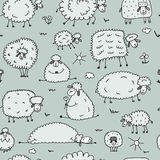 Flock of sheeps, seamless pattern for your design. Vector illustration Stock Photo